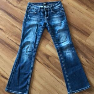 Express blue jean with white stitching bootcut